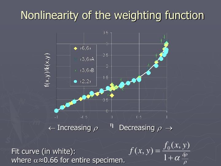 Nonlinearity of the weighting function
