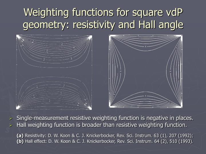 Weighting functions for square vdp geometry resistivity and hall angle