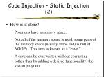 code injection static injection 2