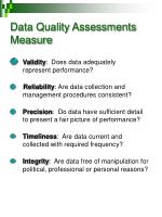 data quality assessments measure
