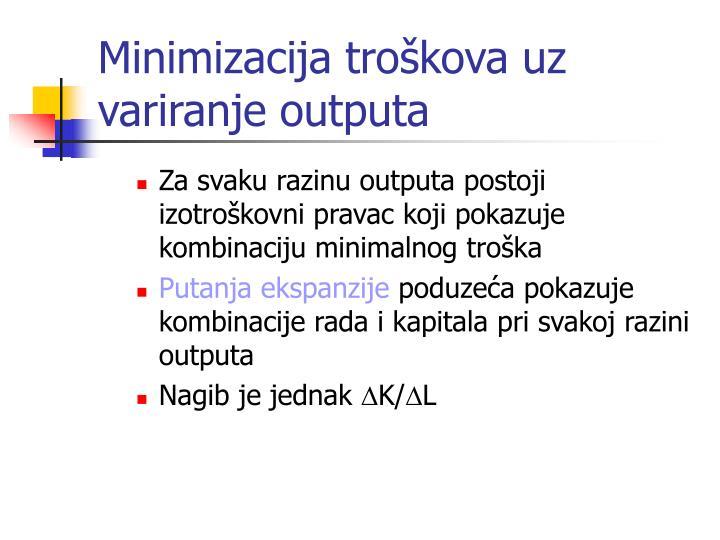Minimizacija troškova uz variranje outputa