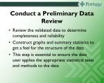conduct a preliminary data review