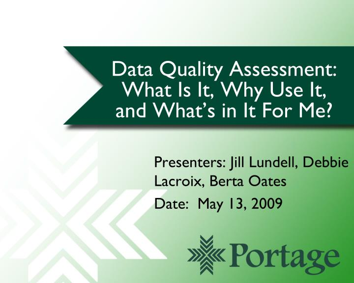 data quality assessment what is it why use it and what s in it for me n.