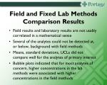 field and fixed lab methods comparison results