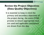 review the project objectives data quality objectives