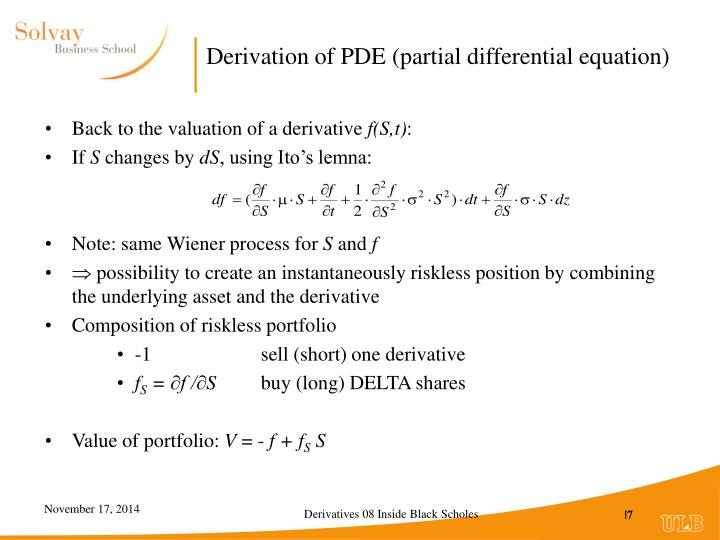 Derivation of PDE (partial differential equation)