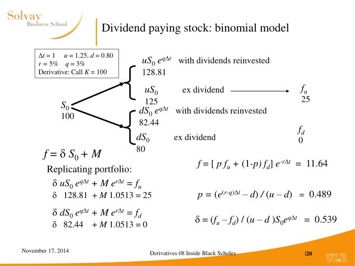 Dividend paying stock: binomial model