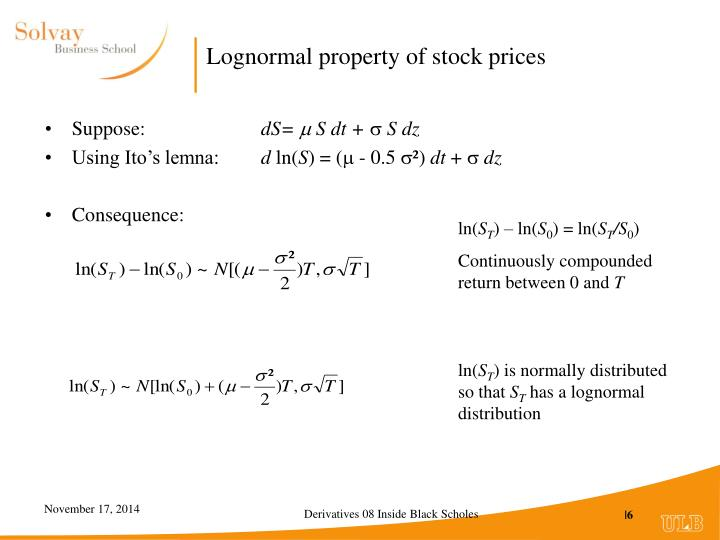 Lognormal property of stock prices