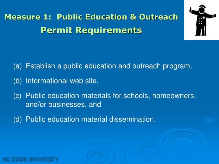 Measure 1:  Public Education & Outreach
