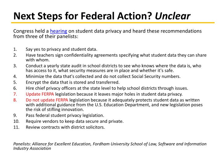 Next Steps for Federal Action?