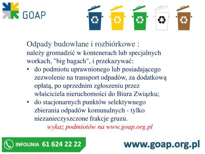 Odpady budowlane i rozbiórkowe :