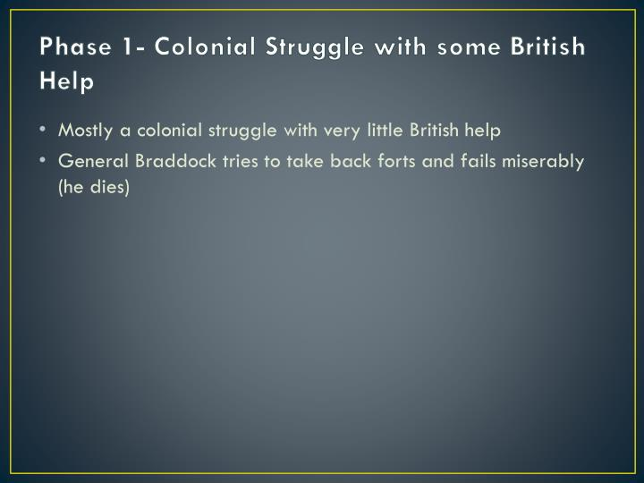 Phase 1- Colonial Struggle with