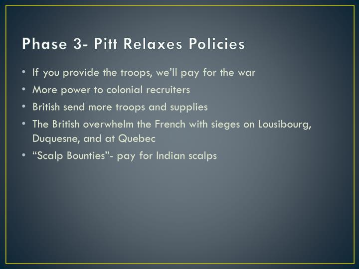 Phase 3- Pitt Relaxes Policies