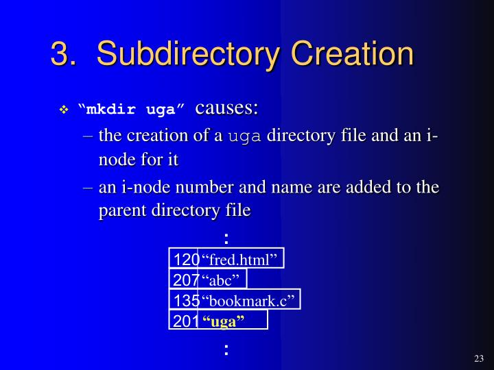 3.  Subdirectory Creation