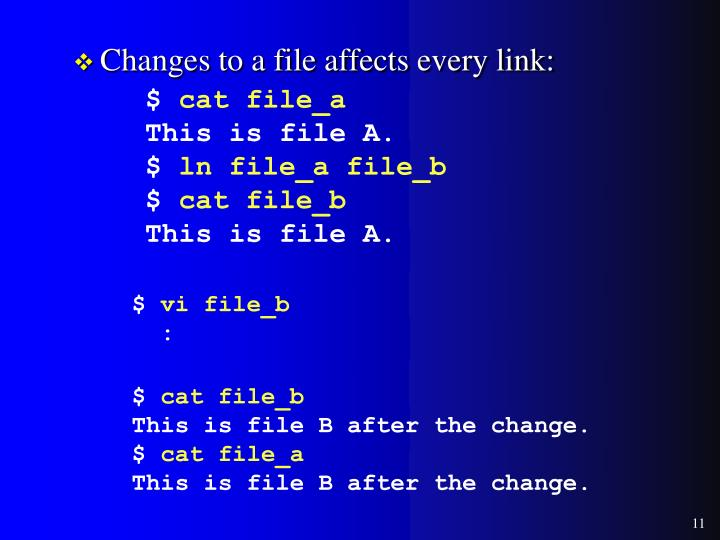 Changes to a file affects every link: