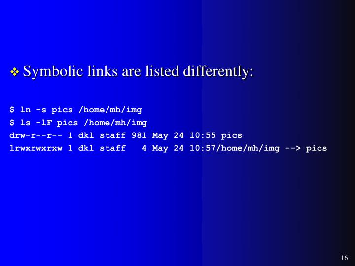 Symbolic links are listed differently: