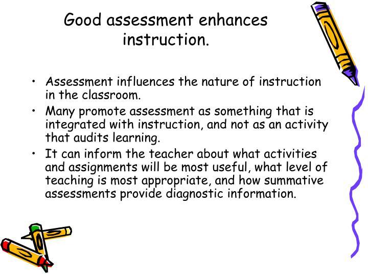 Good assessment enhances instruction.