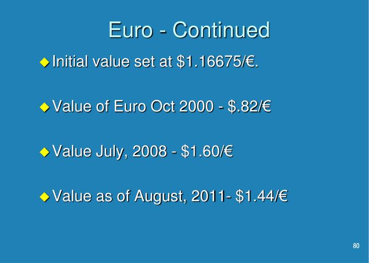 Euro - Continued