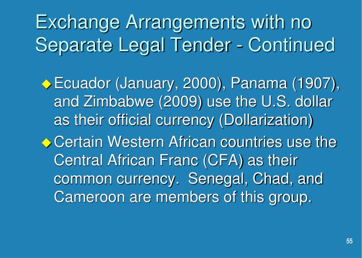 Exchange Arrangements with no Separate Legal Tender - Continued