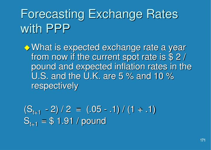 Forecasting Exchange Rates with PPP