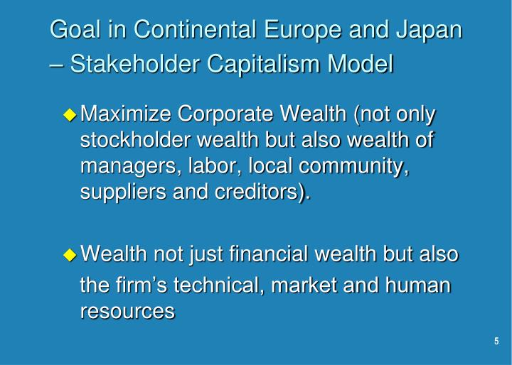 Goal in Continental Europe and Japan – Stakeholder Capitalism Model