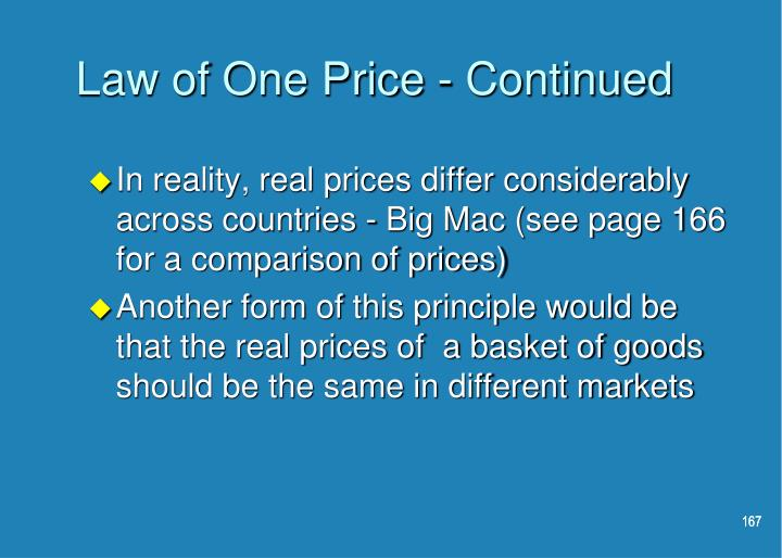 Law of One Price - Continued