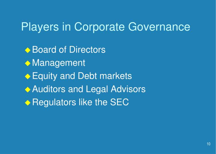Players in Corporate Governance