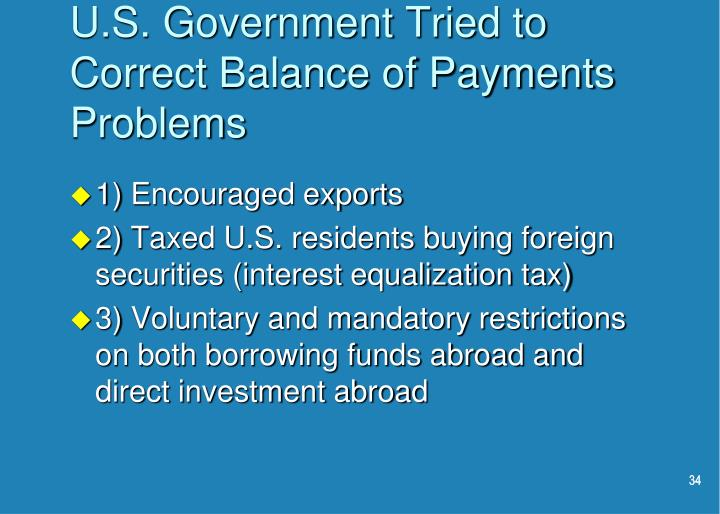 U.S. Government Tried to Correct Balance of Payments Problems