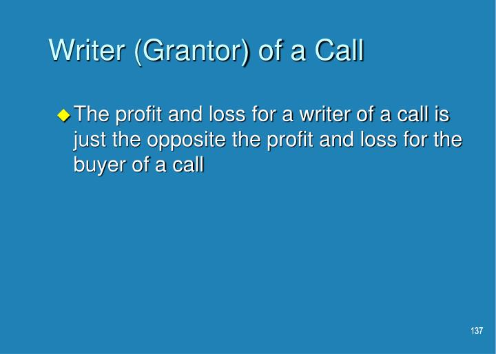 Writer (Grantor) of a Call