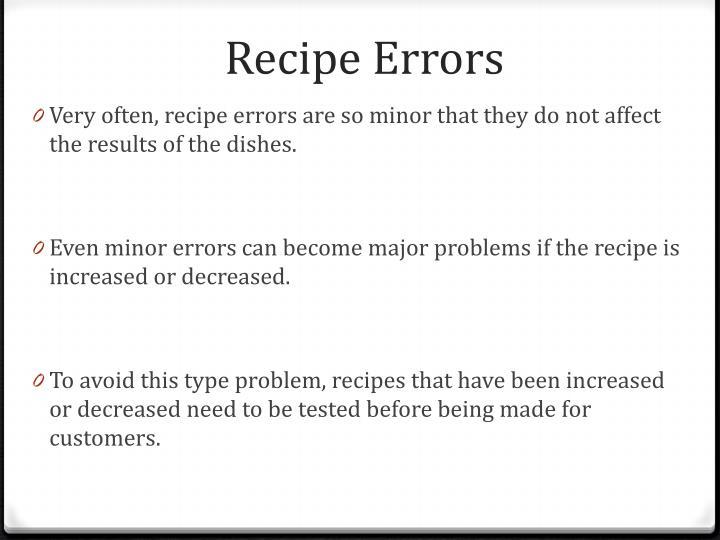 Recipe Errors