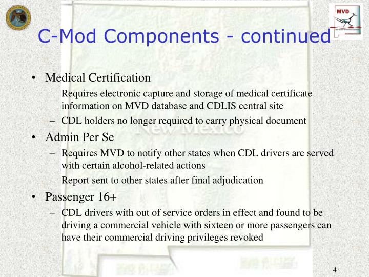 C-Mod Components - continued