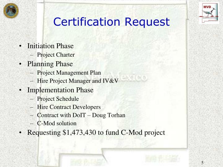 Certification Request