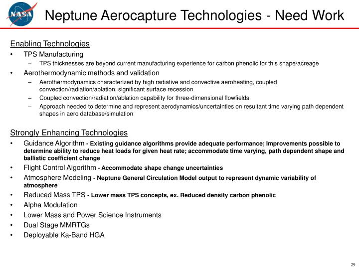 Neptune Aerocapture Technologies - Need Work