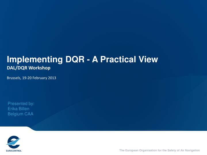 Implementing dqr a practical view dal dqr workshop brussels 19 20 february 2013