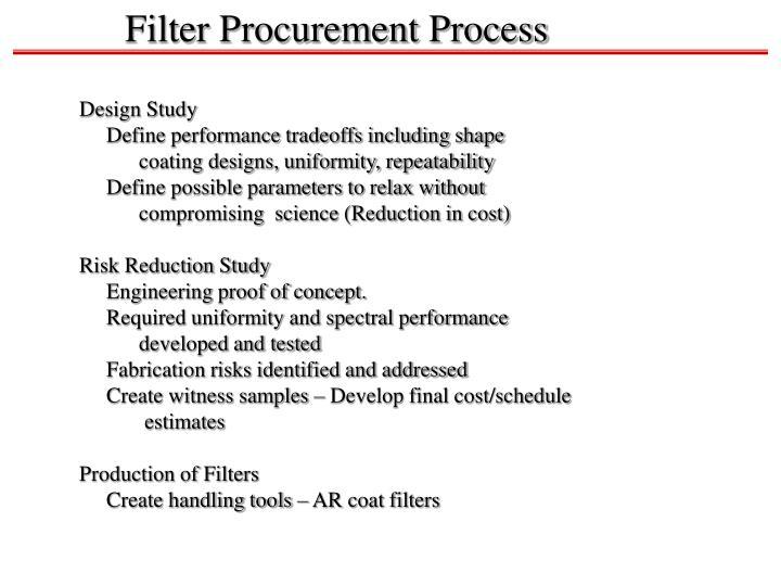 Filter Procurement Process