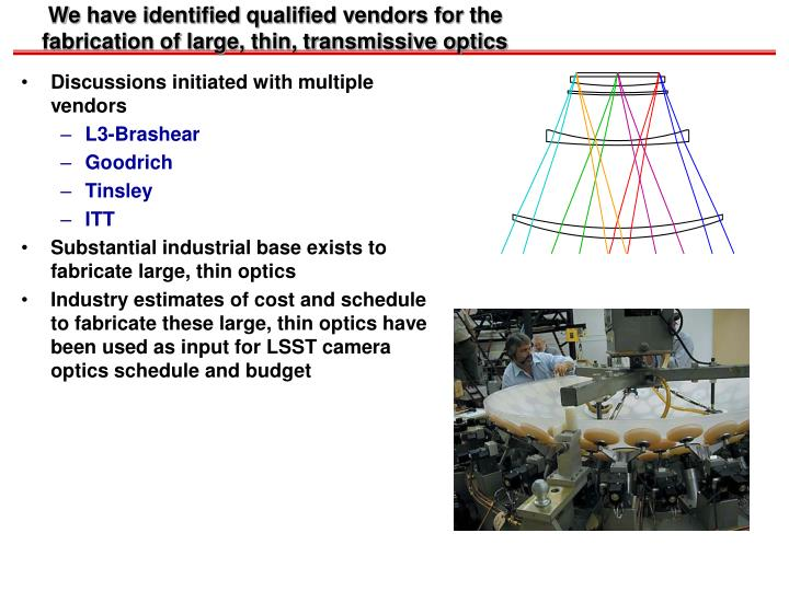 We have identified qualified vendors for the fabrication of large, thin, transmissive optics