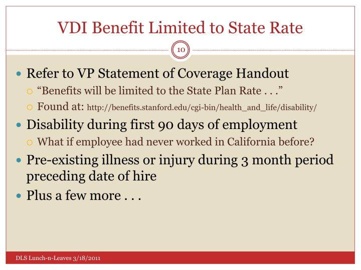 VDI Benefit Limited to State Rate