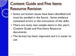 content guide and five items resource revision