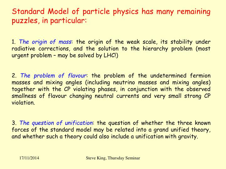 Standard Model of particle physics has many remaining puzzles, in particular: