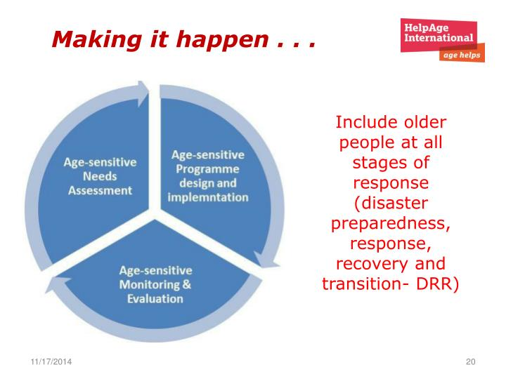 Include older people at all stages of response (disaster preparedness, response, recovery and transition- DRR