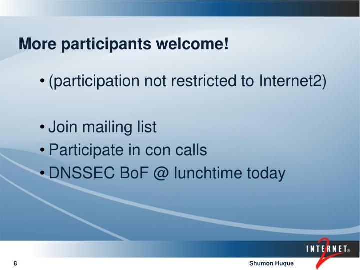 More participants welcome!