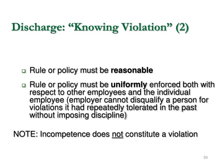 """Discharge: """"Knowing Violation"""" (2)"""