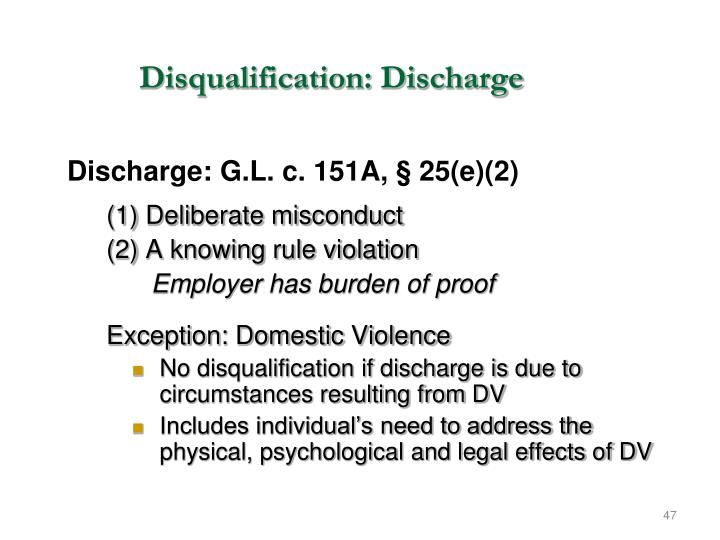 Disqualification: Discharge