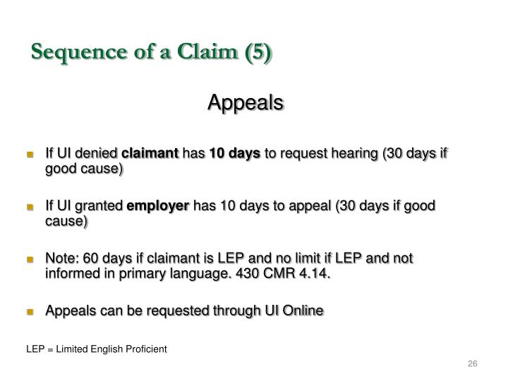 Sequence of a Claim (5)