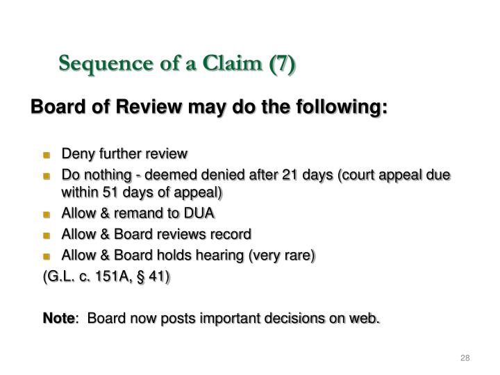 Sequence of a Claim (7)