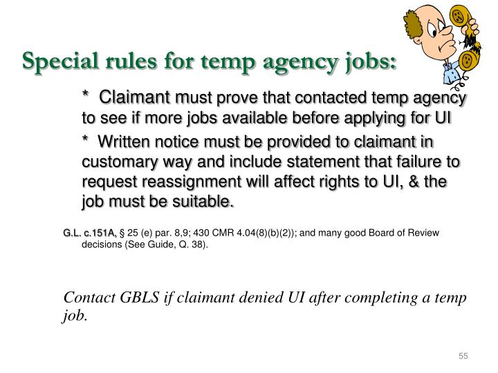 Special rules for temp agency jobs: