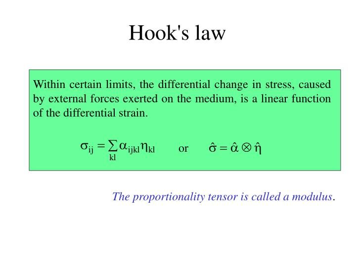 Within certain limits, the differential change in stress, caused by external forces exerted on the medium, is a linear function of the differential strain.