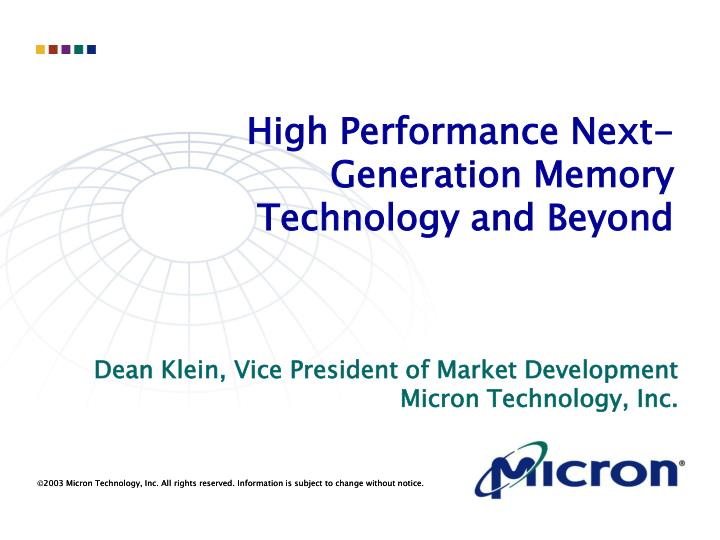 high performance next generation memory technology and beyond n.