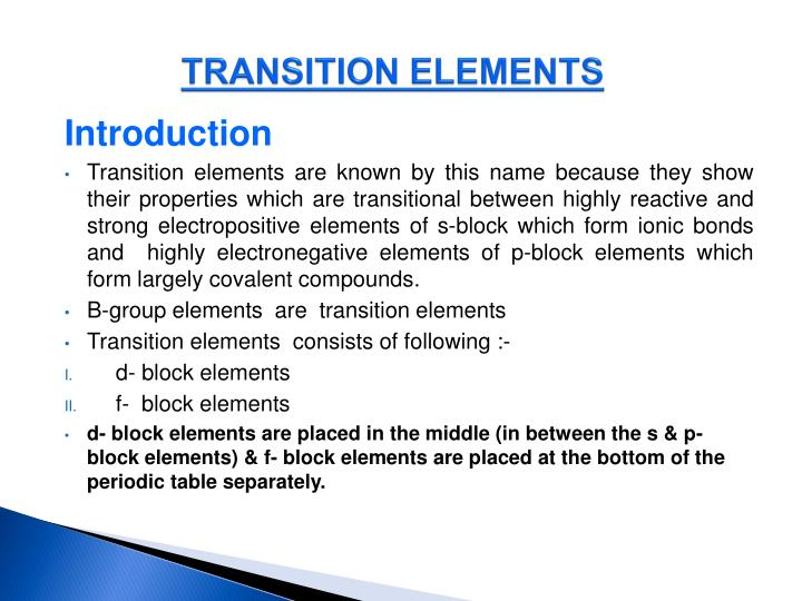 Transition elements