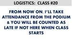 logistics class 201